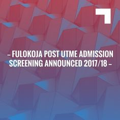 Just in: FULOKOJA Post UTME admission screening announced 2017/18 http://feedproxy.google.com/~r/newsnaijaschoolblog/~3/SCGdL6T60AA/fulokoja-post-utme-admission-screening.html?utm_campaign=crowdfire&utm_content=crowdfire&utm_medium=social&utm_source=pinterest