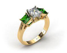 18k Yellow Gold Three Stone Step-Cut Emerald Engagement Ring