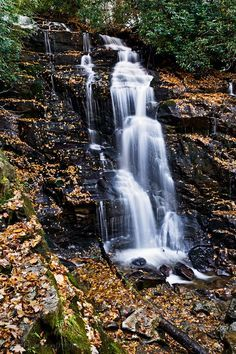 Soco Falls located inside Cherokee Indian Reservation in western North Carolina