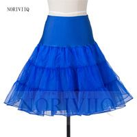 HOT Women's Vintage Petticoat Blue Short Underskirts Organza Wedding Dresses  Formal Skirts Slips