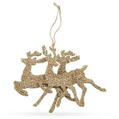 Mud Pie Goldsilver 7.5-In. Glitter Reindeer Ornament ($6.99) ❤ liked on Polyvore featuring home, home decor, holiday decorations, reindeer ornaments, holiday decor, holiday reindeer decorations, deer christmas ornaments and glitter ornaments