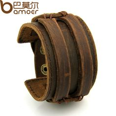 BAMOER Leather Cuff Double Wide Bracelet and Rope Bangles Brown for Men Fashion Man Bracelet Unisex Jewelry PI0296 #electronicsprojects #electronicsdiy #electronicsgadgets #electronicsdisplay #electronicscircuit #electronicsengineering #electronicsdesign #electronicsorganization #electronicsworkbench #electronicsfor men #electronicshacks #electronicaelectronics #electronicsworkshop #appleelectronics #coolelectronics