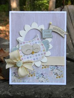 What a happy little owl! This card is great in pastels.