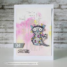 Weihnachtskarte mit Monster, Stempelbar-Monster