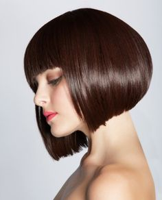 A medium brown straight bob Defined-Fringe Party hair Womens haircut hairstyle by Web Collections