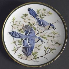 Franklin Mint Woodland Birds Of The World: Blue Jay - Artist: Arthur Singer