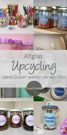 Altglas Upcycling – Leere Gläser weiter verwenden – nurrosa Waste glass upcycling - continue to use empty glasses - only pink And Home Improvement Upcycled Home Decor, Upcycled Crafts, Diy Home Decor, Room Decor, Diy Upcycling, Décor Boho, Hippie Home Decor, Vide, Recycled Furniture