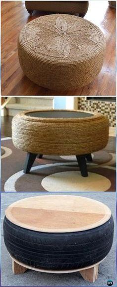 DIY Rope Tire Table Instructions - DIY Old Tire Furniture Ideas