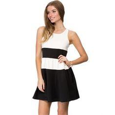 Zalora - Colour Blocked Fit & Flare Dress - Dresses (White & Black) http://www.picanini.com/tag/zalora-party-dresses-online/