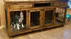 Wire dog crates are ugly. We build solid wood dog kennel furniture that will help you make your home beautiful and your dogs happy. custom built to order. Custom Dog Kennel, Wooden Dog Kennels, Diy Dog Kennel, Kennel Ideas, Dog Kennel Inside, Wood Dog Crate, Airline Pet Carrier, Crate Furniture, Furniture Plans