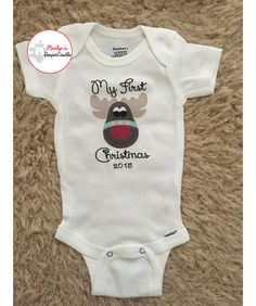 Reindeer My First Christmas Onesie - Reindeer Red Nose Onesie, Baby Shower Gift, Coming Home Outfit Baby Oneise