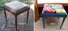 Piano Stool Makeover - Makeover an old piano stool to create extra seating