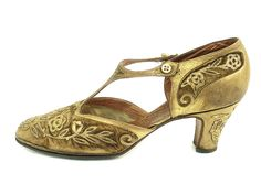 Velvet and Gold, T-Strap Evening Pumps, 1920's