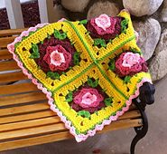 Borgata Flower Afghan Block by Kimberlie Goodnough. Free flower crochet square pattern. 7 or 8 inch versions.