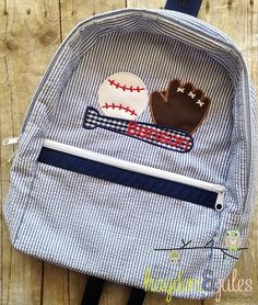 2167531ad3 Applique Baseball Seersucker or Gingham Backpack