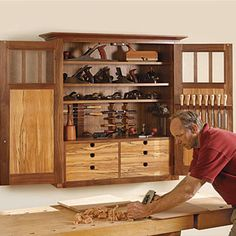 Wall hanging tool cabinet. & This wall-mounted tool chest has space for every conceivable hand ...