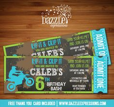 Printable Chalkboard Dirt Bike Ticket Birthday Invitation | Motocross Party | Motorcycle | Digital File | Boys Birthday Party Idea | FREE thank you card | Party Package Available | Banner | Cupcake Toppers | Favor Tag | Food and Drink Labels | Signs |  Candy Bar Wrapper | www.dazzleexpressions.com