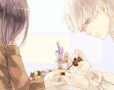 Kaneki ♡ Touka tokyo ghoul | Omg kaneki painting her nail!! That's soo damn cute!! *W*