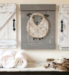 Sheep Nursery Decor Lamb Art Rustic By Elevenowlsstudio