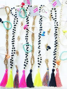Some fun necklaces from BeadedByW!! #beadedbyw #colorful #tassel #necklace #bracelets