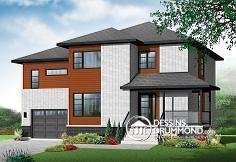 Plan de maison no. W3875-V1 de dessinsdrummond.com Plan W3875-V1 - Grande maison contemporaine, 2 salons, 4 chambres, garage
