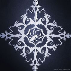 """This is a machine cut copy of the original """"The Nightmare Before Christmas Snowflake"""" paper cutting that I did by hand. It measures x on shimmery white card stock, and will be signed, dated, and titled on the back. Diy Christmas Fireplace, Diy Christmas Snowflakes, Snowflake Decorations, Paper Snowflakes, Christmas Crafts, Paper Snowflake Patterns, Christmas Lamp, Christmas Origami, Office Christmas"""