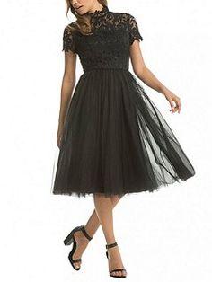 Lace High Neck Skater Dress