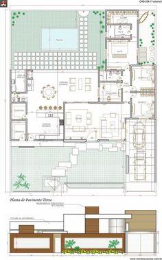 Planta casa térrea grande Modern House Plans, Small House Plans, House Floor Plans, Layouts Casa, House Layouts, Drawing House Plans, Architectural House Plans, Villa Plan, Small Space Interior Design