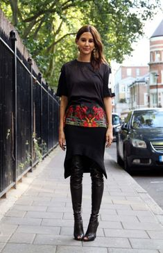 Christine Centenera in Givenchy top and skirt, Tom Ford boots [source: vogue]