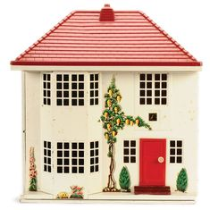 Triang Dolls House, British, 1950's, with tinplate construction sliding front opening to reveal 4 rooms on 2 storeys, plastic finish pitched roof