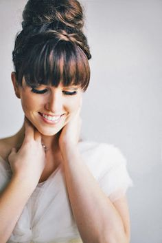 24 Chic Wedding Hairstyles With Bangs ❤ See more: http://www.weddingforward.com/wedding-hairstyles-with-bangs/ #weddings #hairstyles