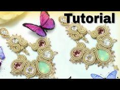 "Tutorial Soutache 🦋 Orecchini ""Sissi"" - YouTube Tutorial Soutache, Earring Tutorial, Bead Embroidery Tutorial, Beaded Embroidery, Sissi, Shibori, Soutache Earrings, Beading Tutorials, Pearl Beads"