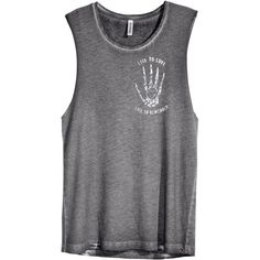 H&M Singlet with a print ($14) ❤ liked on Polyvore featuring tops, shirts, tank tops, grey, gray shirt, grey shirt, print top, h&m tops y grey tank top