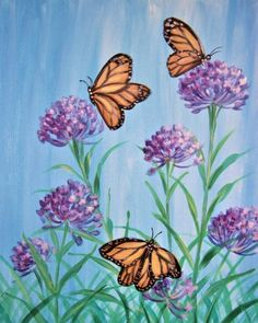 Turpentine For Oil Painting Butterfly Acrylic Painting, Bee Painting, Butterfly Canvas, Flower Painting Canvas, Simple Acrylic Paintings, Spring Painting, Canvas Art, Monarch Butterfly, Oil Painting Pictures