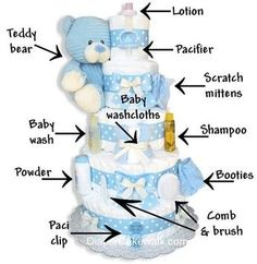 Ideas for Planning A Great Baby Shower Themes, Games, Decoration IdeasWhat's inside a baby shower diaper cake. I would LOOOOOVE to receive something like that.Send a professional baby diaper cake gift to welcome the new baby and delight the new par Bebe Shower, Idee Baby Shower, Baby Shower Baskets, Baby Shower Crafts, Unique Baby Shower Gifts, Baby Shower Diapers, Baby Boy Shower, Unique Baby Boy Gifts, Baby Shower Gifts For Boys