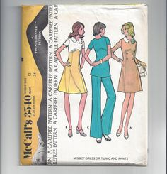 Dress Pattern Tunic Top McCalls Vintage Sewing Pants Womens Misses Size 12 Bust 34 Inches McCalls pattern 3540 from Cut/complete, has instructions, envelope in poor - wrinkled - shape. Cut to longest (dress) length. Mccalls Sewing Patterns, Vintage Sewing Patterns, Princess Line Dress, Sewing Projects For Kids, Sewing Ideas, Sewing Designs, Sewing Diy, Sewing Pants, Sewing Clothes