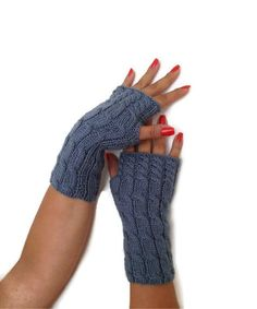Air Force blue  Wool Fingerless Gloves Armwarmers  Hand Knit Chic Winter Accessories Winter Fashion on Etsy, $21.00