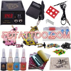 Professional Tattoo Machine Kit Completed Set With 2 Tattoo Gun Machines  Wholesale Price:US $33.55 Professional Tattoo Kits, Tattoo Machine Kits, Tattoo Equipment, Tattoo Needles, Tattoo Supplies, New Tattoos, Tattoo Artists, Gun, Firearms
