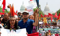 Actor Leonardo DiCaprio  joined thousands of climate change protesters in Washington DC to mark President Donald Trump's hundredth day in office on Saturday.
