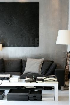 The wall art thru monochromatic approach. Matte versus gloss and texture