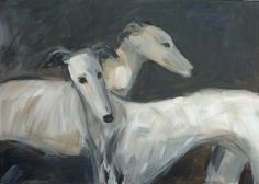 Two white sighthounds, acrylic on canvas www.arte-canino.de