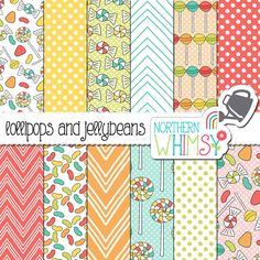 "Candy Digital Paper - ""Lollipops and Jellybeans"" - sweet scrapbook paper - pastel candy seamless patterns - printable paper - commercial use by NorthernWhimsyDesign on Etsy https://www.etsy.com/uk/listing/455893278/candy-digital-paper-lollipops-and"
