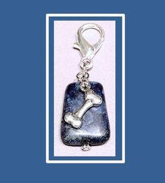 Lapis Lazuli Dog Collar Charm, Pet Charm, Dog Bone Collar Charm, Dog Bling, Dog Jewelry, Pet Accessories, Gemstone Dog Collar Charm by RBeadDesigns