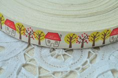 15mm(5/8'') x 5 Yards Cotton Ribbon Sewing Tape Label Print Ribbon Label - Red House Yellow Tree Flower Y021 by BeadSources on Etsy https://www.etsy.com/listing/129318696/15mm58-x-5-yards-cotton-ribbon-sewing