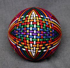 4 Inch Diameter Japanese Temari Ball Embroidered Ornamental