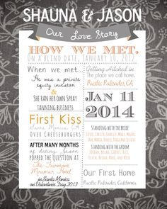 So cute to show at bridal showers and reception! Great gift from bridesmaid, or buy for yourself. Personalized Love Story Wedding Stats Page  by SOCOPhotoandDesign, $18.00 for Digital Release. Can alter order for Framed or Matted.   Gray and Orange, Our Love Story. Bride and Groom, Groomsmen, Bridesmaids, How we met, Wedding Story.
