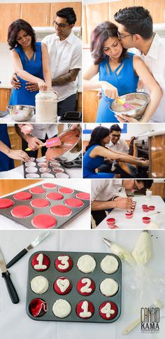 Baking Cooking Food Couples Engagement Shoot, Red Red Vet cupcakes, Couple Photography, Save the Date Photography, Dubai Wedding Photographer | Candid Kama Photography