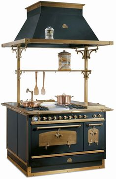Italian stove [ http://www.appliancist.com/vintage_retro_appliances/antique-appliances-by-restart-srl-modern-technology-classic-italian.html ] #italian #stove #hood