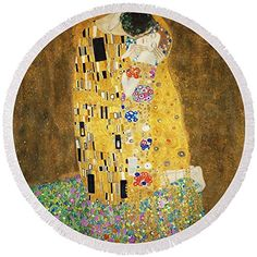 "Round Beach Towel With Tassels featuring ""The Kiss"" Gustav Klimt, Beach Towel, Home Kitchens, Tassels, Art Gallery, Auction, Clock, Kids Rugs, Kiss"
