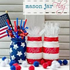 love the striped jar...could use it for christmas as well!  Patriotic Painted Mason Jars 4th of July Decor